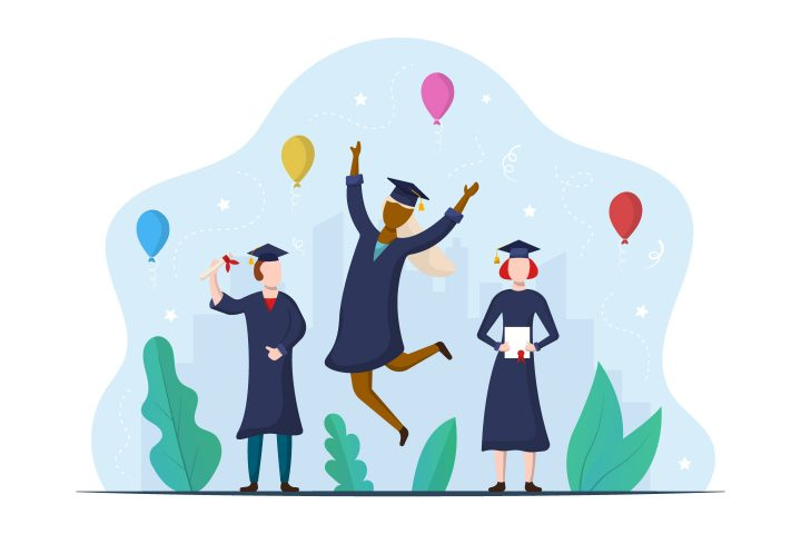 Students Celebrating Graduation from School or Colleges Illustration