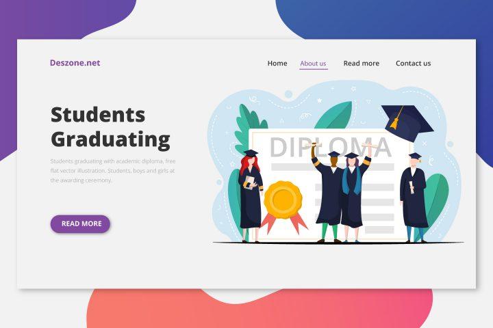 Students Graduating with Academic Diploma Free Flat Vector Illustration