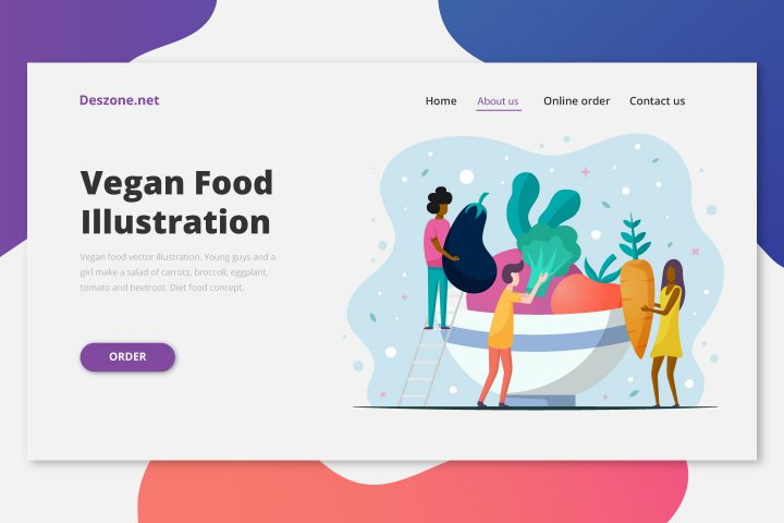 Vegan Food Vector Illustration