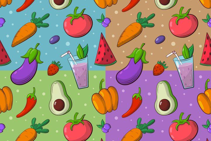 Vegan Food Vector Seamless Pattern