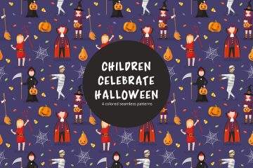 Children Celebrate Halloween Vector Seamless Pattern