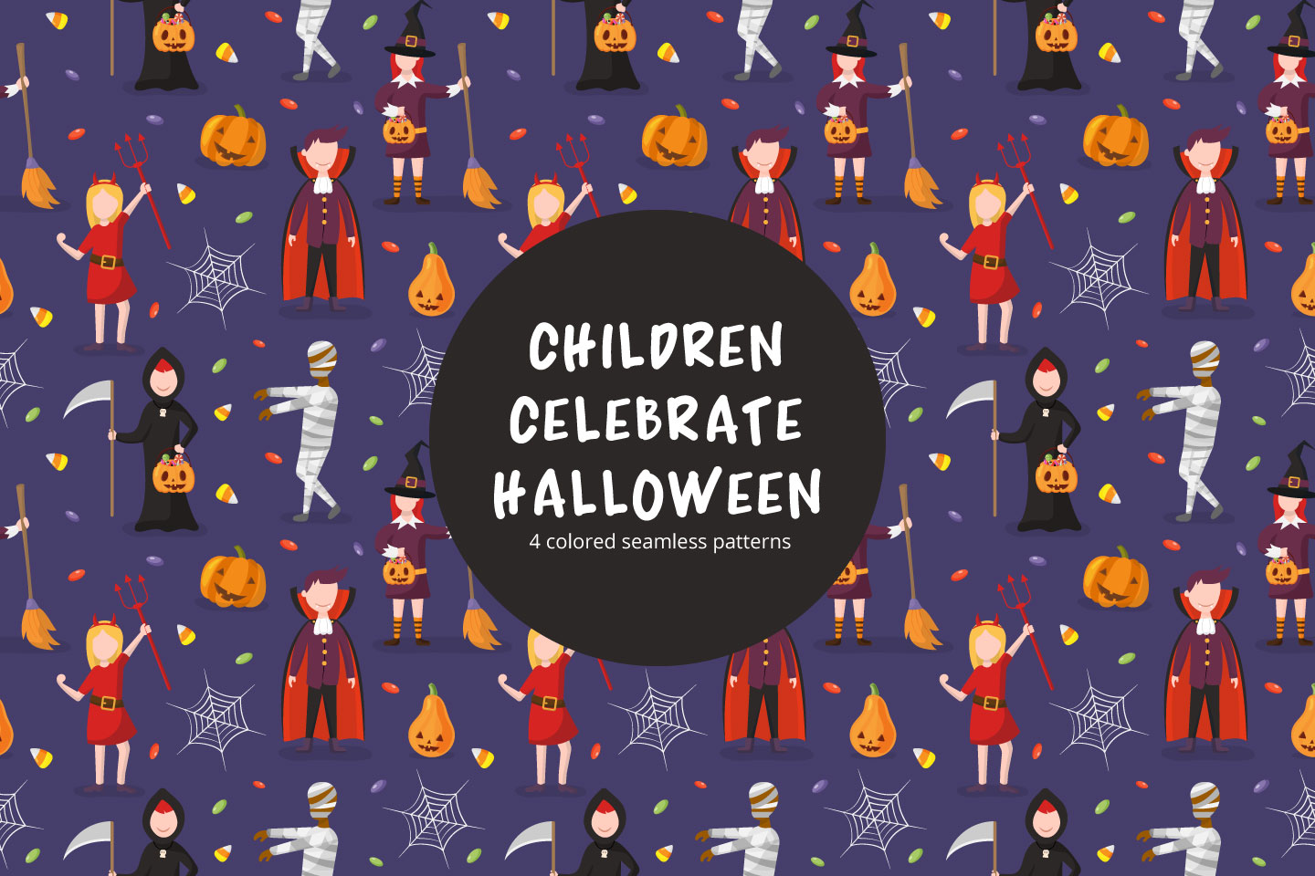 Children Celebrate Halloween Vector Seamless Pattern