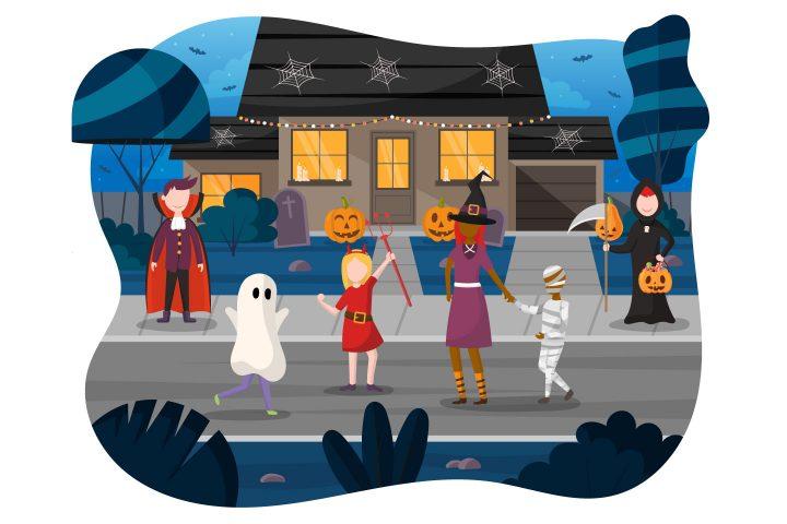 Children Celebrate on the Street Halloween Flat Design