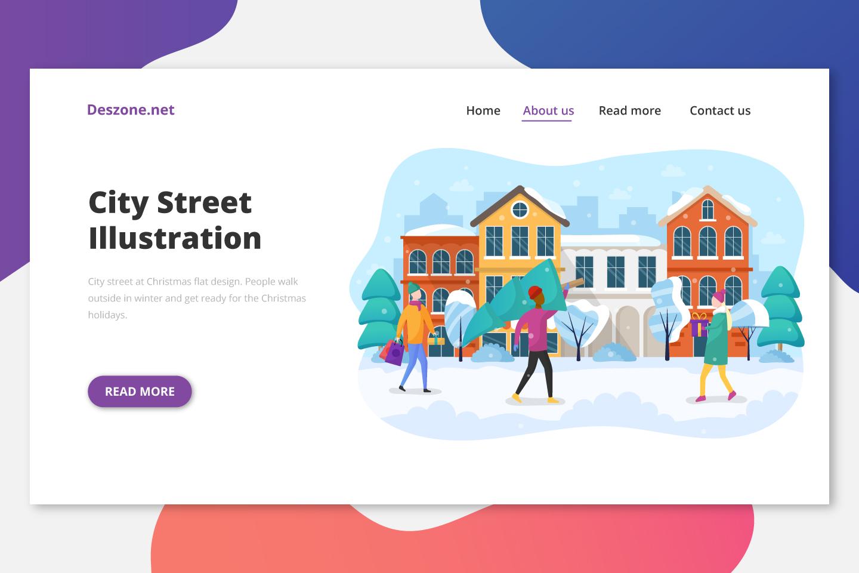 City Street at Christmas Flat Design