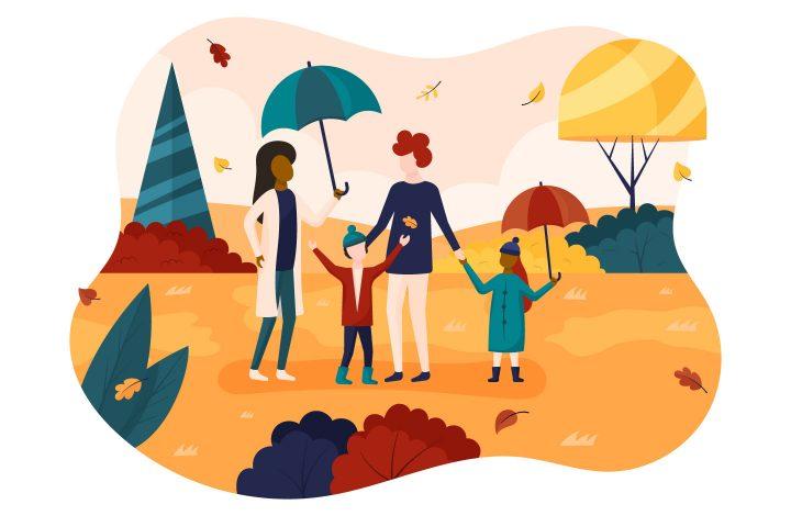 Family on an Autumn Walk Flat Design