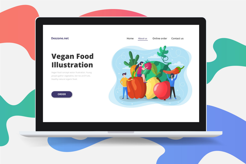 Vegan Food Concept Vector Illustration