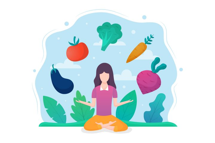 Vegan Food Vector Free Graphic Design in Flat Style