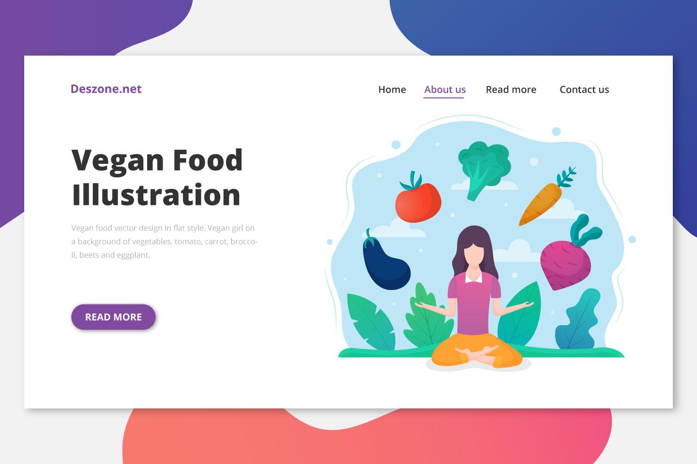 Vegan Food Vector Design in Flat Style