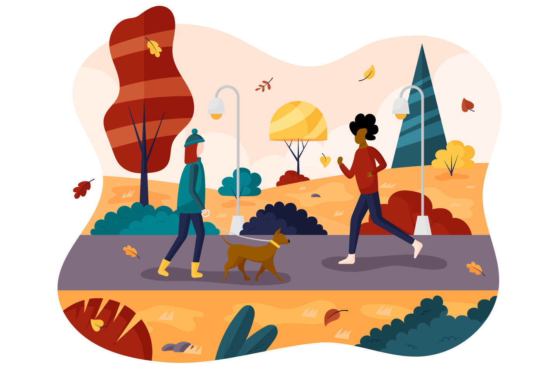 Autumn Walk in the Park Flat Design