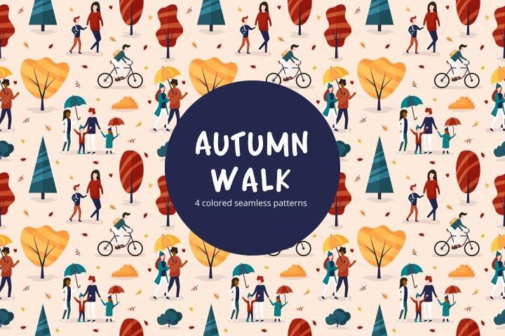 Autumn Walk Vector Seamless Pattern