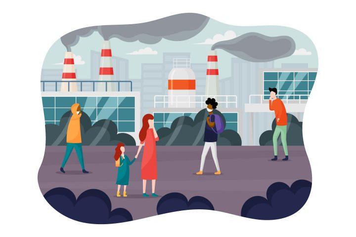 City Air Pollution Flat Design