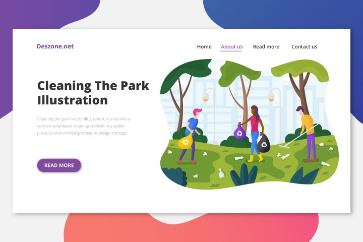 Cleaning the Park Vector Illustration