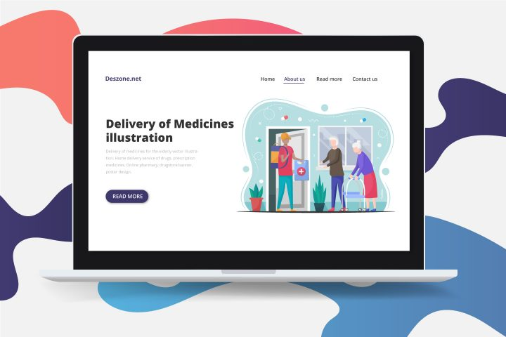 Delivery of Medicines for the Elderly Vector Illustration