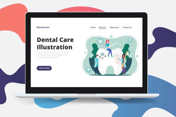 Dental Care Vector Free Flat Illustration