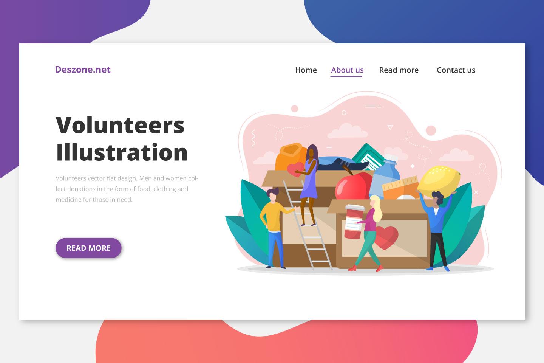 Volunteers Vector Flat Design