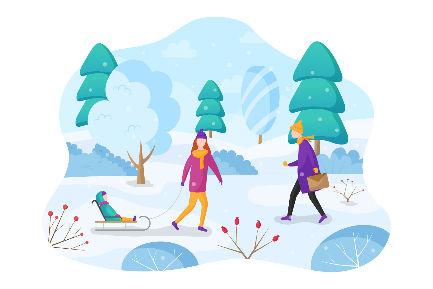 Winter Vector Flat Illustration