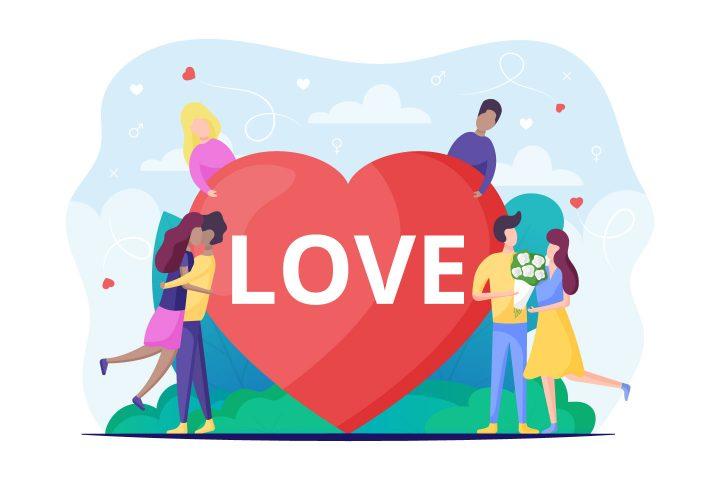 People in Love Vector Flat Design