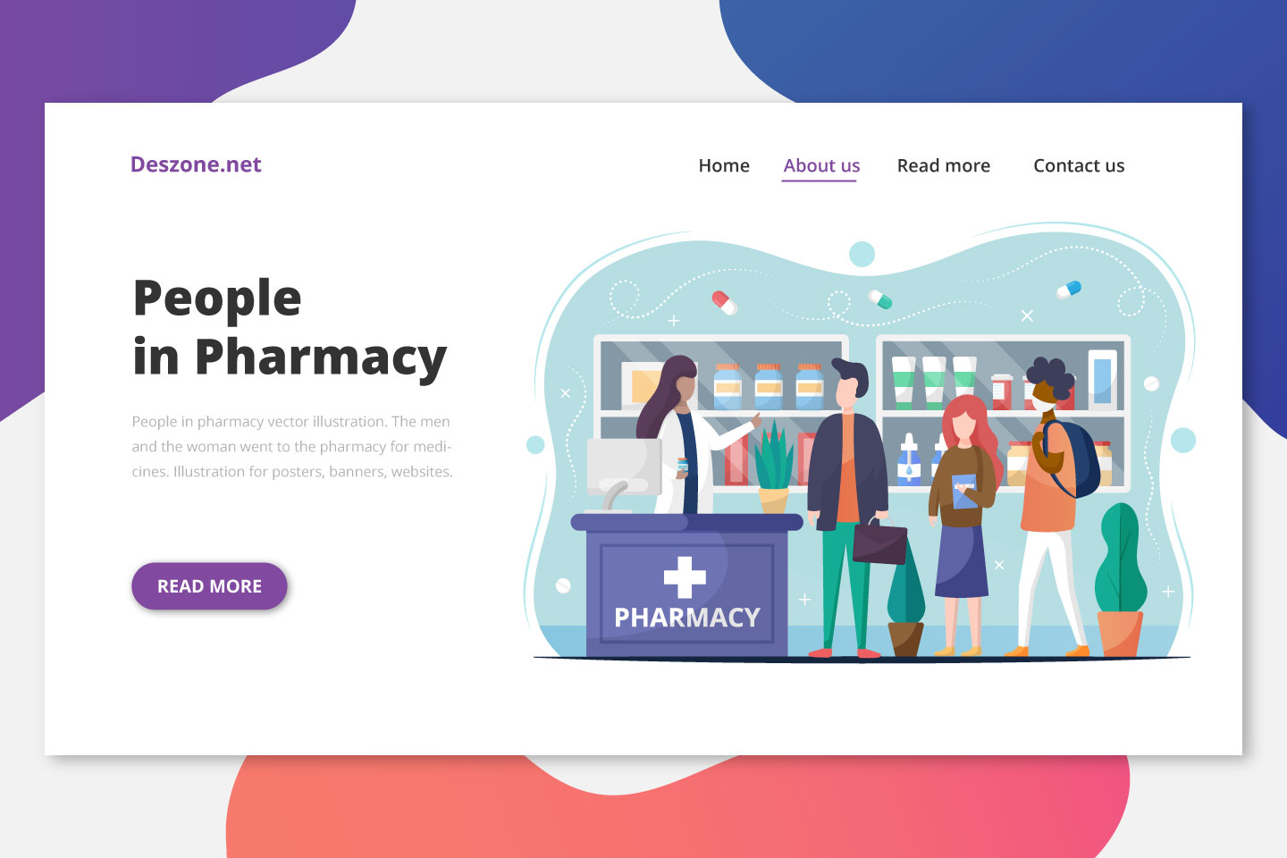People in Pharmacy Vector Illustration