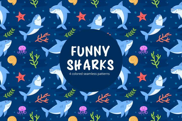 Funny Sharks Vector Seamless Pattern