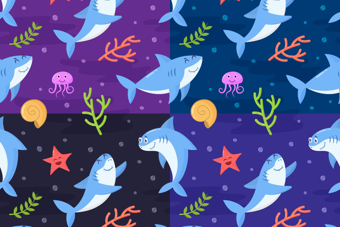Funny Sharks Vector Seamless Pattern