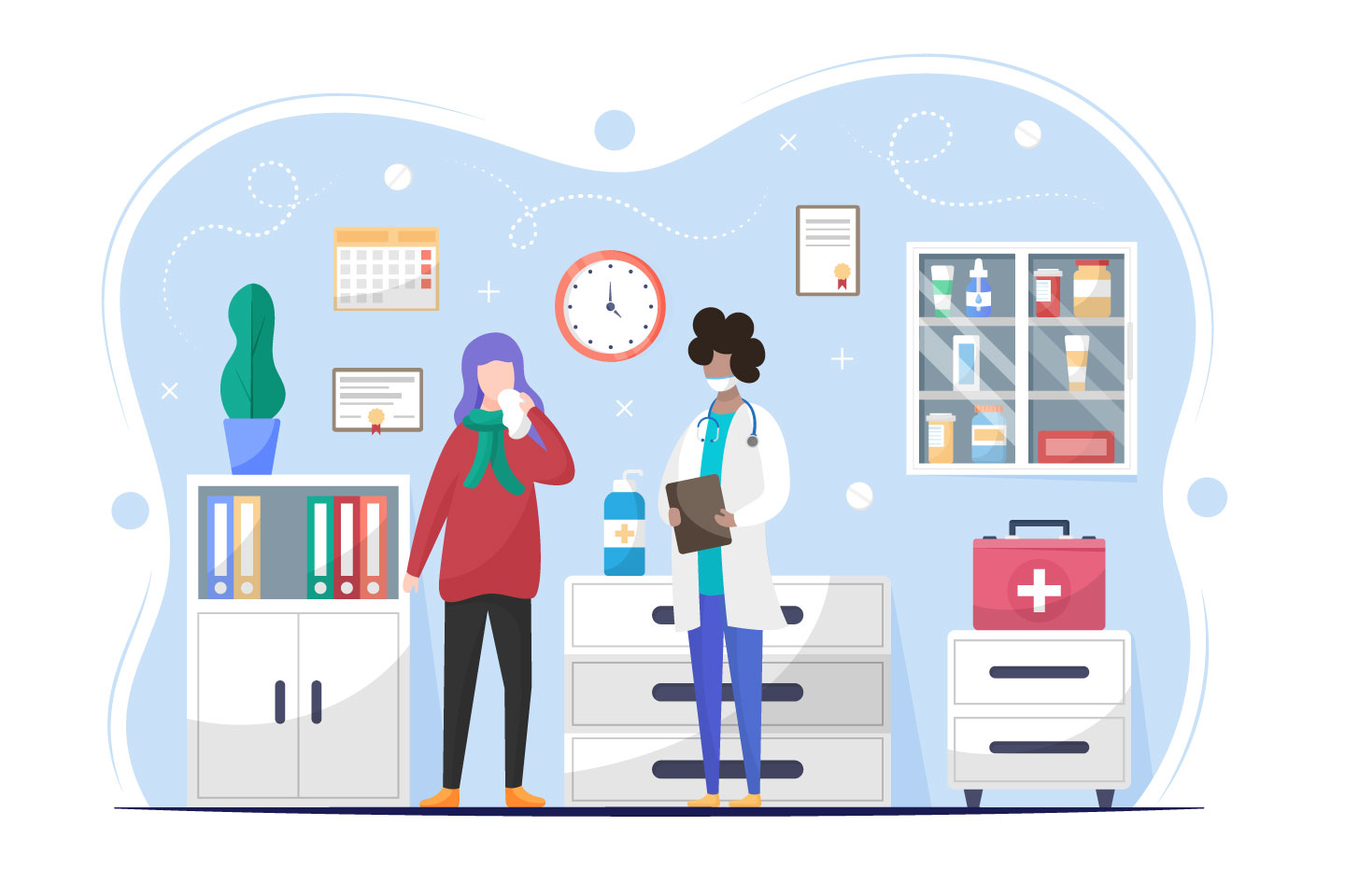 The Patient Came to the Doctor Vector Illustration