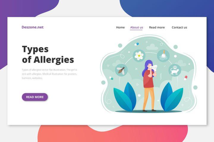 Types of Allergies Vector Flat Illustration