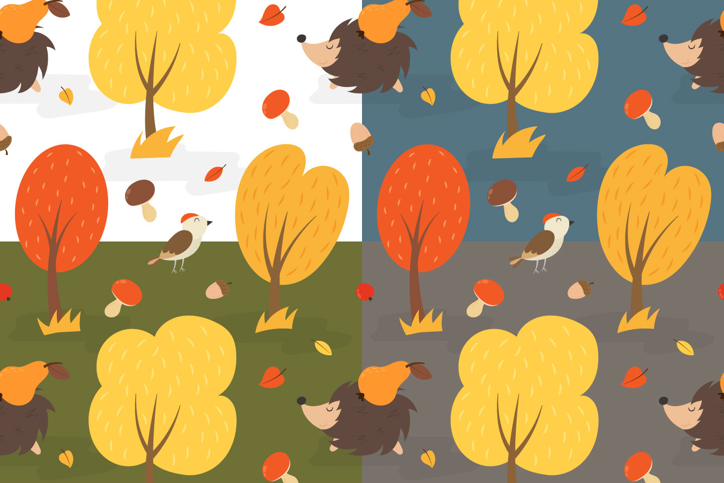Autumn Forest Vector Seamless Pattern