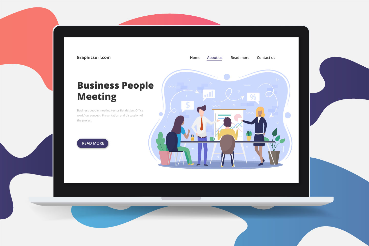 Business People Meeting Vector Flat Design