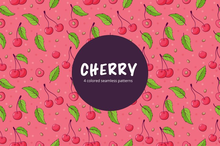 Cherry Vector Free Seamless Pattern