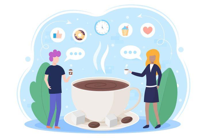 Coffee Break Vector Flat Illustration