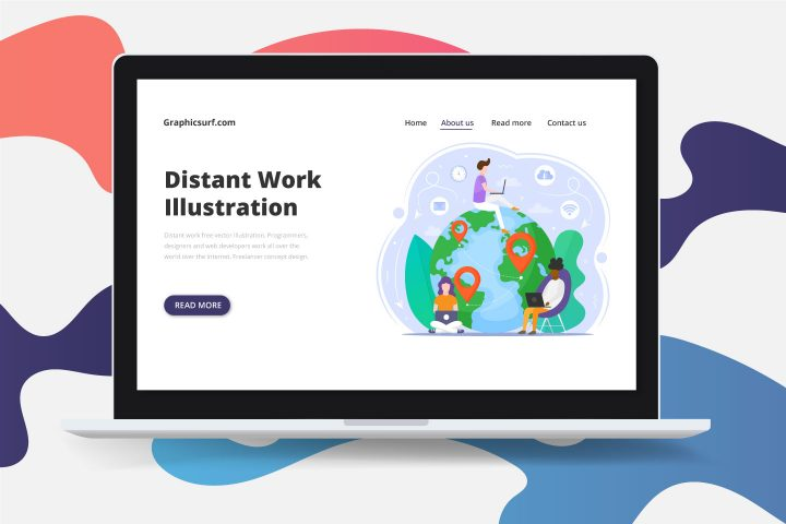 Distant Work Free Vector Illustration