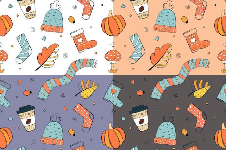 Doodle Autumn Vector Free Seamless Pattern