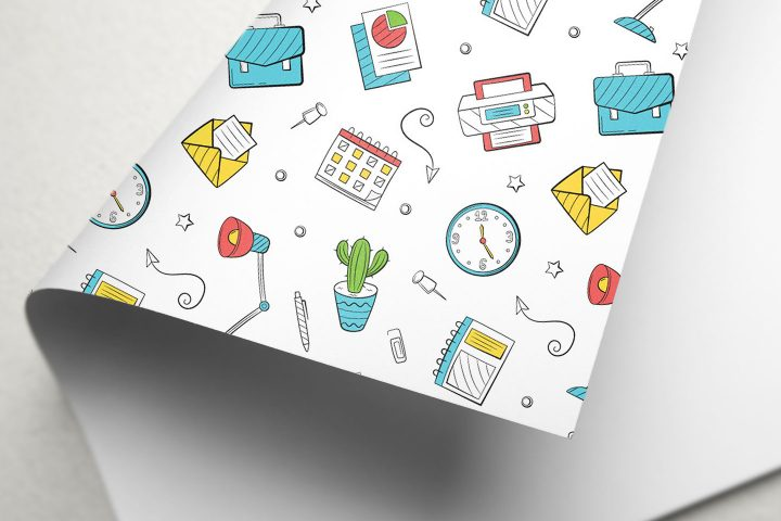 Doodle Office Vector Free Seamless Pattern