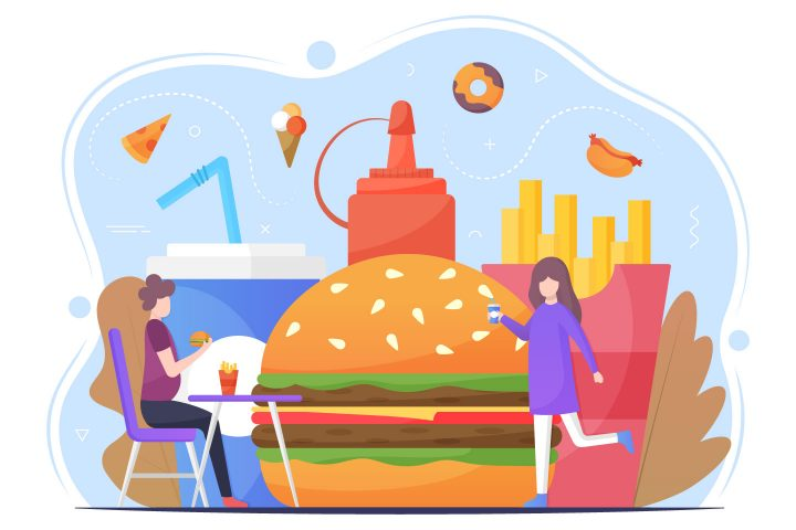 Free Fast Food Vector Flat Illustration