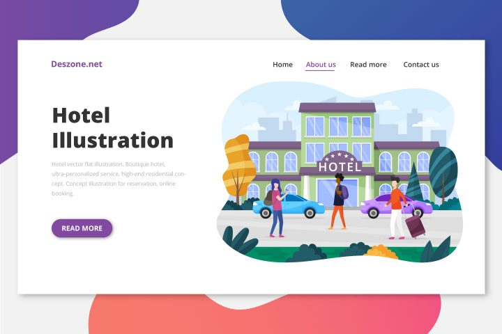 Hotel Vector Flat Illustration