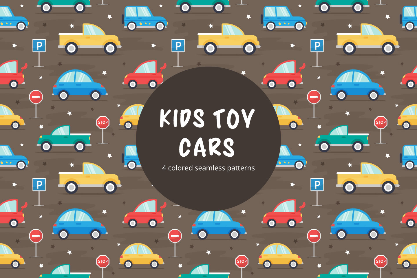 Kids Toy Cars Vector Seamless Pattern