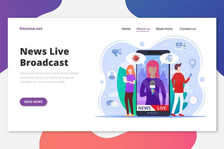 News Live Broadcast Vector Free Illustration