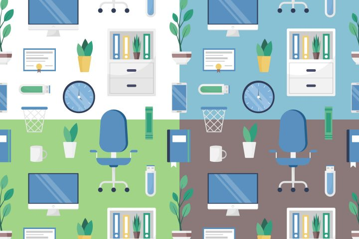 Office Vector Seamless Pattern in Flat Style