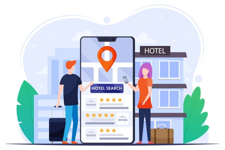 Online Hotel Search Vector Design Concept
