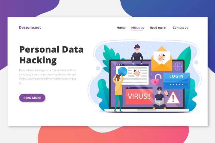 Personal Data Hacking Vector Free Illustration