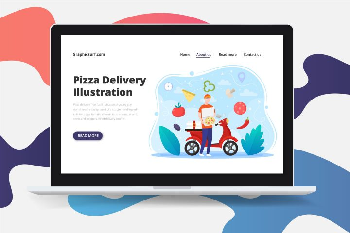 Pizza Delivery Free Flat Illustration