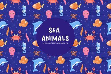 Funny Sea Animals Vector Seamless Pattern