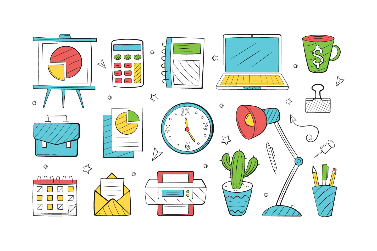 Set of Office Objects in Doodle Style