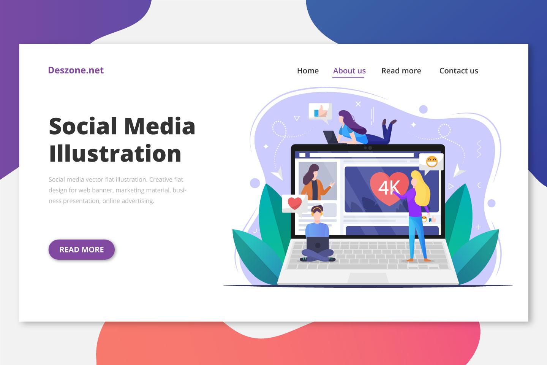 Social Media Vector Flat Illustration