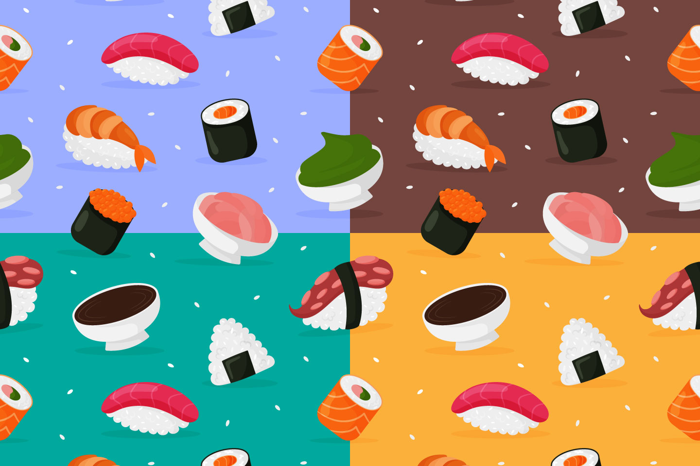 Sushi and Rolls Vector Seamless Pattern