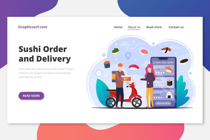 Sushi Order and Delivery Vector Flat Design