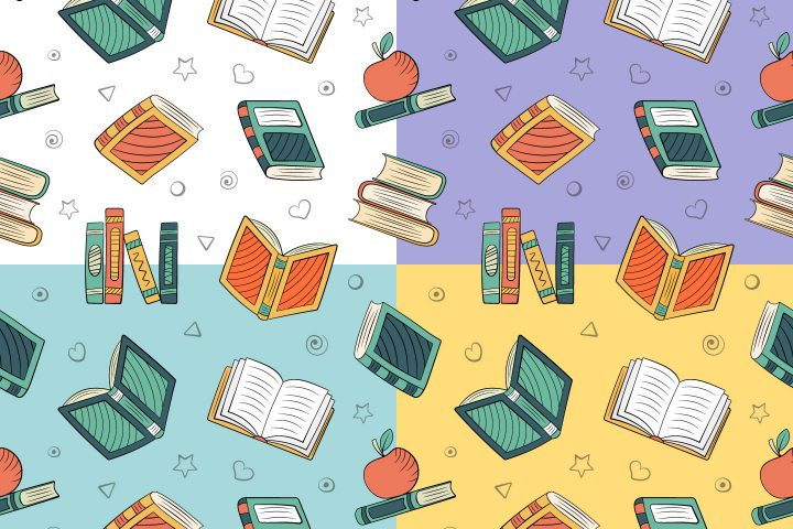 Books in Doodle Style Vector Seamless Pattern