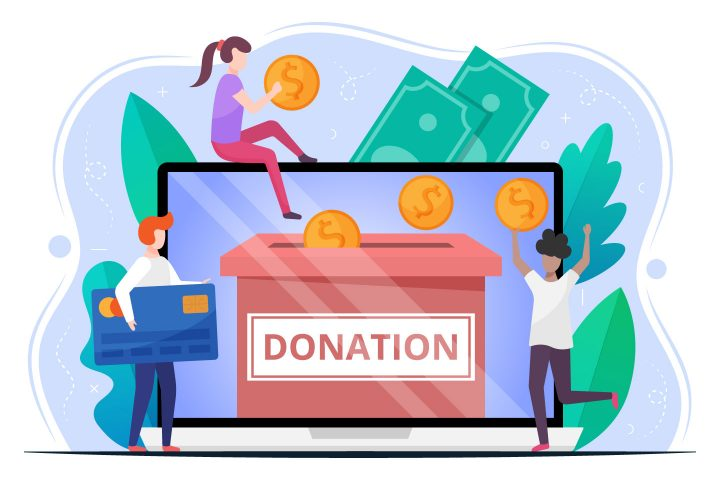 Donation Money Vector Flat Illustration