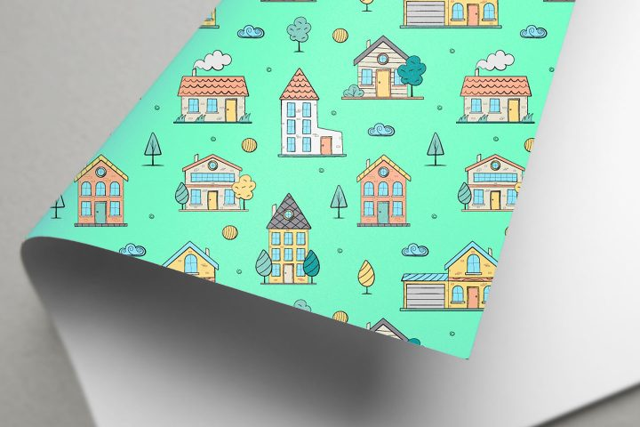 Doodle Houses Vector Seamless Pattern