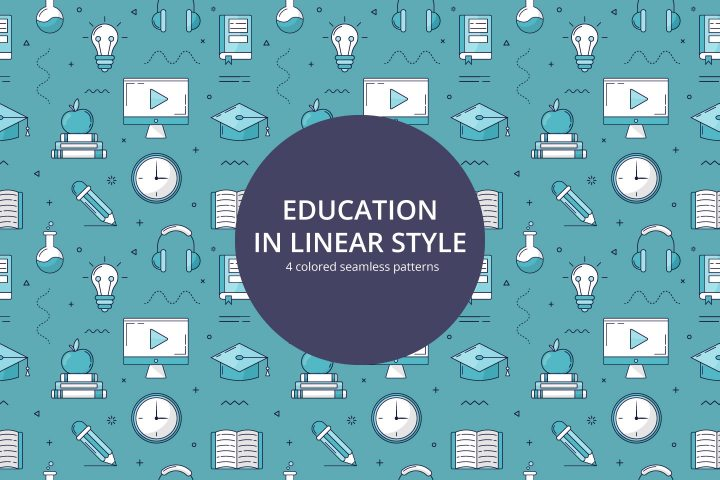 Education Vector Free Seamless Pattern in Linear Style